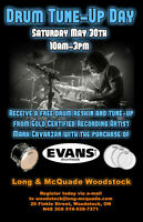 Drum Tune-Up Day is Saturday May 30th at Long & McQuade!