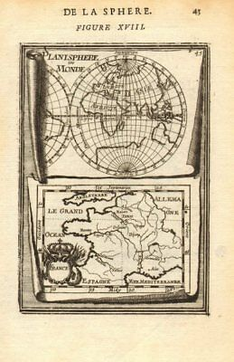 FRANCE/WORLD. odd-shaped Australia close to southern continent. MALLET 1683 map
