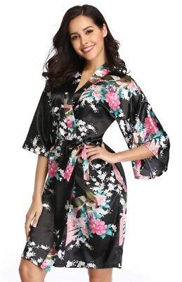 KIMONO JAPANISCH SATIN GESTEMPELT FLORAL GEISHA KOSTÜM ÖSTLICHE MODE - Florale Geisha Kostüm