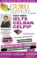 CELBAN, IELTS, CELPIP, CLB Test prep classes