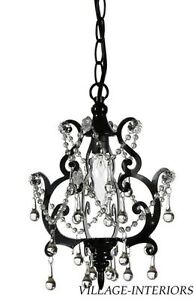 PETITE SHABBY PARIS APARTMENT CHIC BLACK ROMANTIC CHANDELIER w/ CRYSTALS