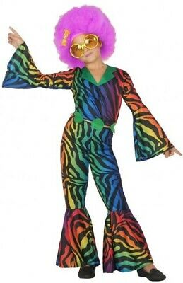 Girls Boys 1970s Rainbow Disco Jumpsuit 70's Fancy Dress Costume Outfit 3-12 yrs](Boys Disco Clothes)
