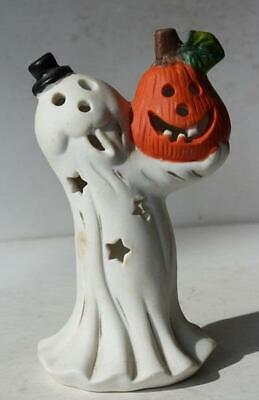 Ghost Figure Holding Pumpkin J-O-L Black Hat Ceramic-Porcelain Tea Light Holder