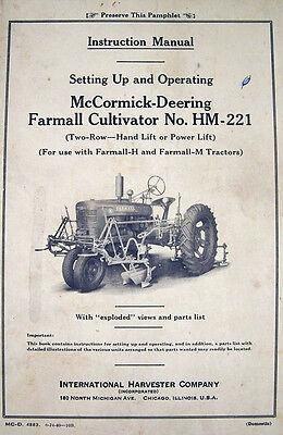 Farmall Mccormick Deering Cultivator Hm 221 Owners Operator Service Manual Ihc