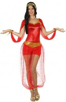 Fancy Dress Arabian Nights (Ladies Sexy Red Arabian Nights Belly Dancer Fancy Dress Costume Outfit UK)