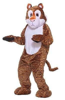Tiger Maskottchen Kostüm Erwachsene Schwarz & Orange Streifen Kunstpelz Overall