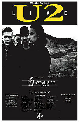 U2 Joshua Tree Tour 1987 Wembley Concert Poster for sale  Tulsa