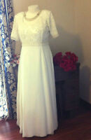 Short sleeved Chiffon Gown with beading, colour ivory, size 16