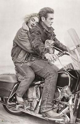 JAMES DEAN - MARILYN MONROE - MOTORCYCLE POSTER - 24x36 VINTAGE 1394