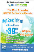 UNLIMITED HIGH SPEED INTERNET + HOME PHONE CALL 6477104806