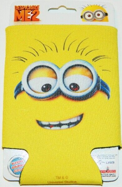 Despicable Me 2 Movie Minion Smile Face Beer Huggie Can Cooler/Koozie NEW UNUSED