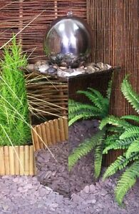 Sphere Round Mirror Water Feature Fountain Cascade Contemporary Stainless Steel