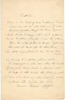 Harriet Prescott Spofford / Signed autograph manuscript sonnet titled Captive