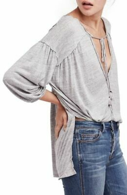 Free People Women's Tie-Front Hi-Low Henley Grey Top, Size S, ZR-AA