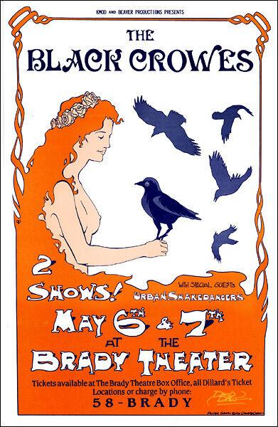 BLACK CROWES 1995 Original Concert Poster Signed