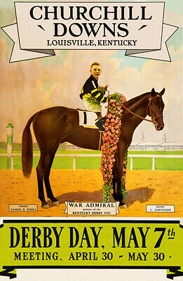 rchill Downs - 1938 - Horse Race Poster (Kentucky Derby Dekorationen)