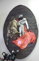 "NEW PRICE! 1969 Girotti USA Sculptured Wall Art ""Matador & Bull"""