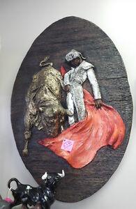 """1969 Girotti USA Sculptured Wall Art """"Matador & Bull"""""""