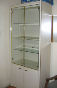 Large Solid DISPLAY CABINET - Cream Lacquer Finish