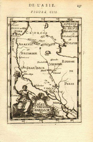 MIDDLE EAST/CAUCASUS Kurdistan Diyarbakir Yerack (Iraq) Armenia. MALLET 1683 map