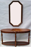 Set of Console table & octagon shape wood frame mirror