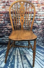 Antique elm wheelback dining chairs 2