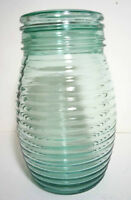 Apothecary Style Green Horizontaly Ribbed Jar with Glass Lid,