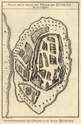 'I'Isle et Ville de Quilloa'. Kilwa island, Tanzania. BELLIN/SCHLEY 1748 map