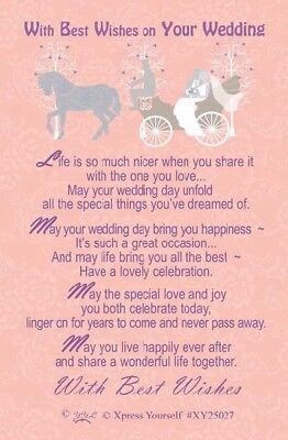 Good Luck Wishes Cards - Xpress Yourself Good Luck Keepsake Card  - With Best Wishes On Your Wedding
