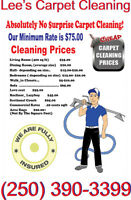 Lee's Carpet Cleaning 250-390-3399