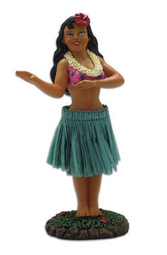 Dashboard Hula Girl Dancing Mini Doll Hawaiian Hawaii Aloha Islands Green Skirt