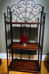 Wooden and Metal Fold-Up Shelf