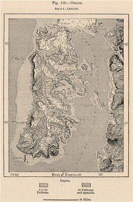Chiloé. Chile 1885 old antique vintage map plan chart
