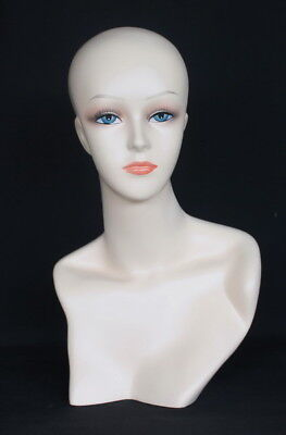 18 In H Female Head Mannequin Bust Form Display Mannequin Skintone Makeup Mh56ft