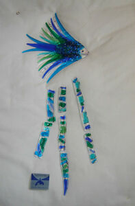 Hand Crafted fused glass wind chime London Ontario image 3