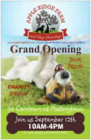 GRAND OPENING SEP.12th @ Apple Ridge Farm and Dog Boarding