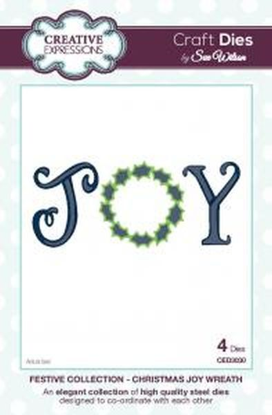 sue wilson festive collection - christmas joy wreath - ced3030