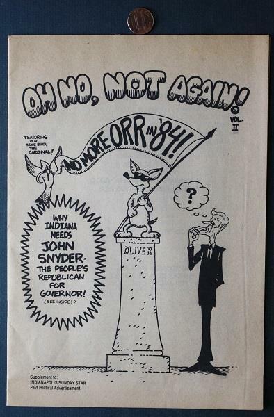 1984 Republican John Snyder for Indiana Governor Anti-Bob Orr Comic Book-RARE!
