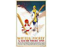 "16x24 1920s ""Ski Jumping"" North Shore Line Vintage Wisconsin Ski Snow Poster"