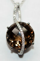 12.8 Carat Smokey Quartz & Diamond Pendant, 14K WG, Value $1,550