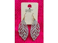 Large Silver Sparkly Leaf Dangly Earrings NEW
