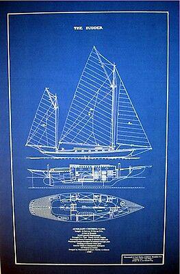 "Vintage 1905 Sailboat Yawl Blueprint Plan Great decor !  16"" x 25"" (144)"