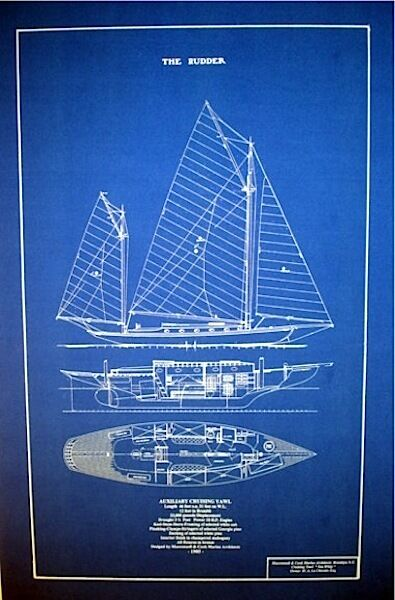 "Vintage 1905 Sailboat Yawl Blueprint Plan 16"" x 25"" (144)"