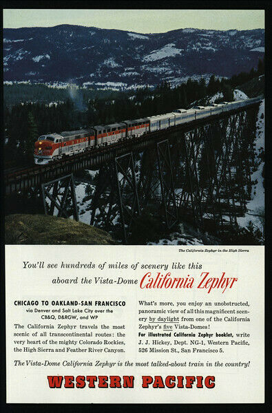 1957 WESTERN PACIFIC Railroad - California Zephyr - High Sierra - VINTAGE AD