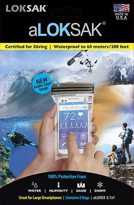 Aloksak Waterproof Bags - 2 Aloksak 3.75 x 7 New Double Zipper Waterproof Airtight Bags LOKSAK Smartphone