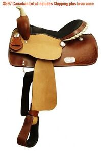 "14"" 15"" 16"" Western Barrel Racing Saddles $747 Leather FULL Bars London Ontario image 8"