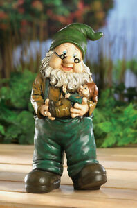 Indoor Outdoor Babysitting Grandpa Gnome Statue With Baby New