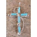 Zuni Indian Sterling Silver & Turquoise Cross Pendant! Native American Jewelry