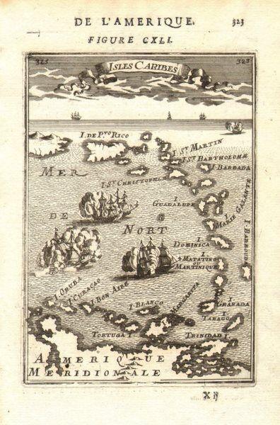 WEST INDIES Caribbean Windward Leeward Islands Barbados Pirates? MALLET 1683 map