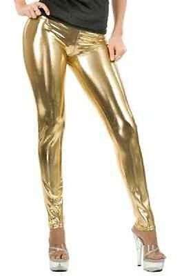 Gold Liquid Metal Leggings Disco Pimp Ho Dress Up Halloween Sexy Adult Costume